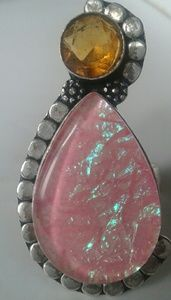 Jewelry - Vintage pink and amber sterling ring